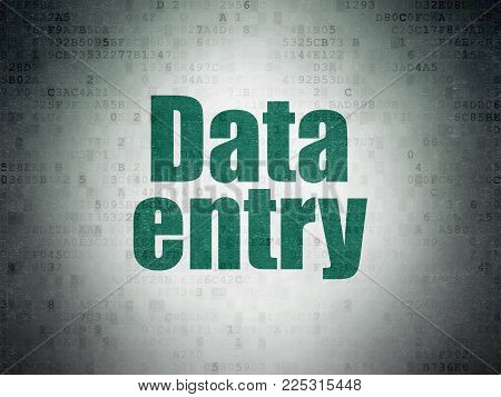 Data concept: Painted green word Data Entry on Digital Data Paper background