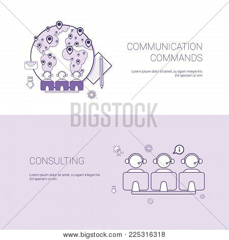 Set of Communication Commands And Consulting Banners Business Concept Template Background With Copy Space Vector Illustration