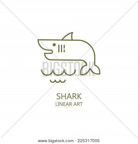 Simple illustration of marine life. Shark. It is possible to use as the logo