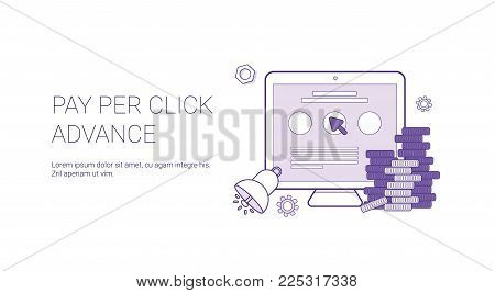 Pay Per Click Advance Business Concept Template Web Banner With Copy Space Vector Illustration