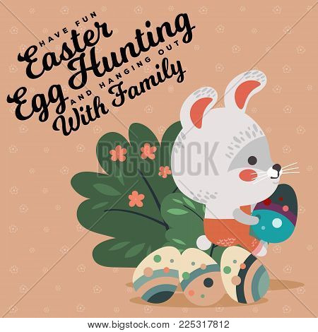 Easter baby bunny in overalls holding big decorated egg, isolated whire rabbit with ears hunting eggs sitting under a green bush vector illustration card.