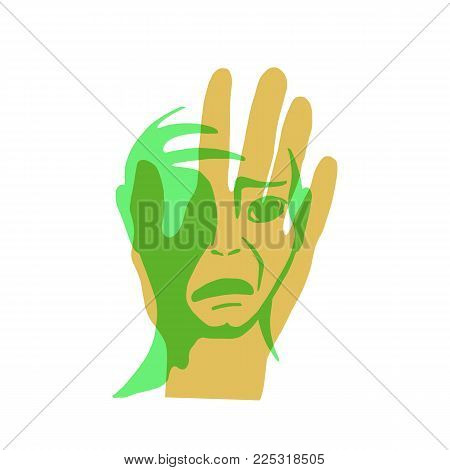 The problem of violence. The hand and the face of a man. Vector illustration.