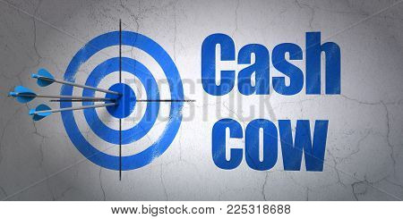 Success finance concept: arrows hitting the center of target, Blue Cash Cow on wall background, 3D rendering
