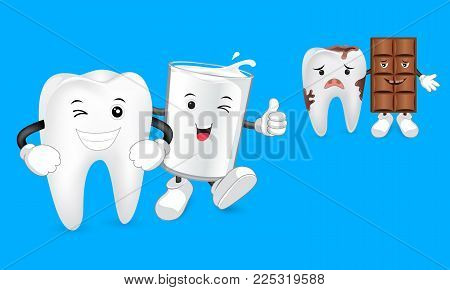 Glass Of Milk With Tooth And Chocolate Character With Decay Tooth. Funny Illustration. Great For Den