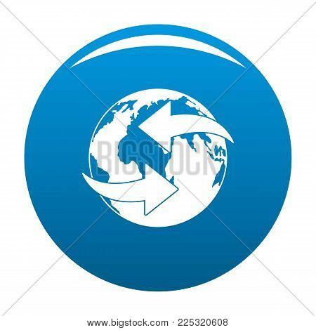 Moving earth icon vector blue circle isolated on white background