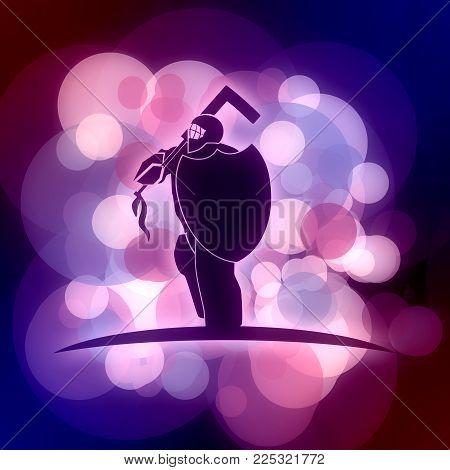 An Illustration Of Ice Hockey Goalie With Knight Shield. Sport Equipment Or Club Emblem. Neon Bulb I