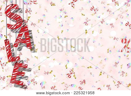 beautiful illustration with the inscription sale of red abstract letters