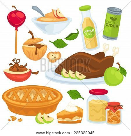 Apple food and drinks or desserts. Vector apple fruit juice cider or jam and pie, roasted turkey with garnish and sweet apples in caramel baked and cooked ingredients flat isolated icons set