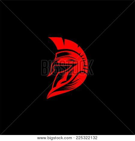 minimal logo of red spartan helmat on black background vector illustration design.