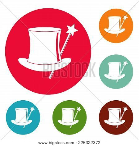 Hat with a wand icons circle set vector isolated on white background