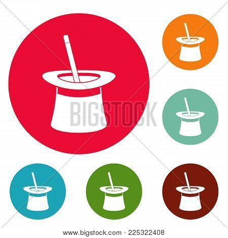 Wand in hat icons circle set vector isolated on white background