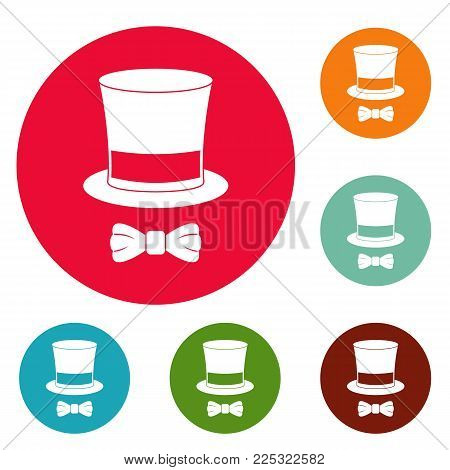 Hat with butterfly icons circle set vector isolated on white background