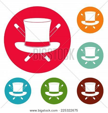 Hat with a stick icons circle set vector isolated on white background