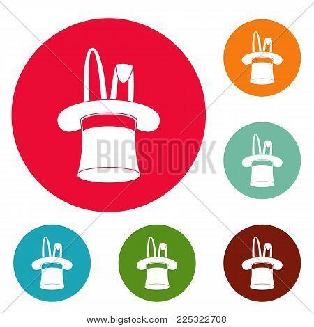 Hat with rabbit icons circle set vector isolated on white background