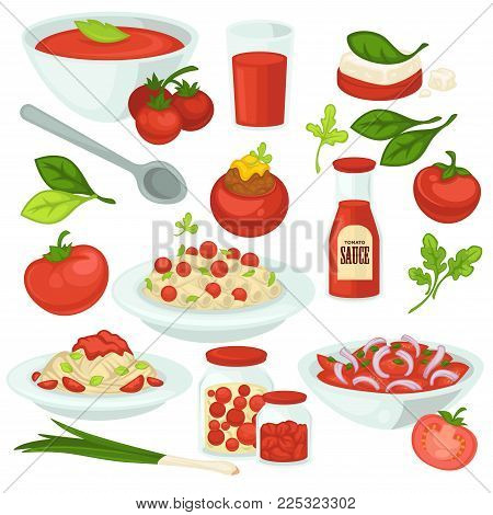 Tomato food meals, salads and dishes with tomatoes vegetable ingredient. Vector tomato soup gazpacho, pasta with tomatoes ketchup sauce and juice drink or salad and pickles flat isolated icons set