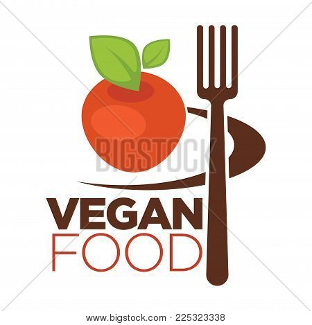 Vegan food logo for vegetarian cafe or menu design template. Vector flat icon of apple fruit or tomato vegetable and fork for vegan restaurant or vegetarian food cuisine sign
