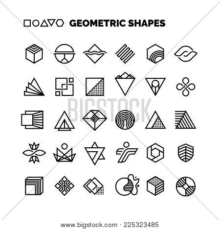 Universal black and white geometric vector shapes isolated for graphic design. Geometric element logo simple collection