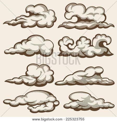 Vintage engraving clouds. Hand drawn vector set. Cloud engraving drawing in sky retro style illustration