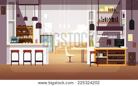 Modern empty bar or coffee shop vector flat interior. Restaurant and coffee shop, cafe indoor room illustration