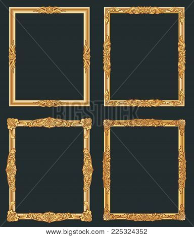 Decorative vintage golden vector frames. Old shiny luxury gold borders. Vintage picture photo, decoration frame ornate illustration