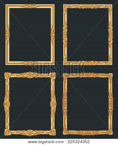 Decorative vintage golden vector frames. Old shiny luxury gold borders. Vintage picture photo, decoration frame ornate illustration