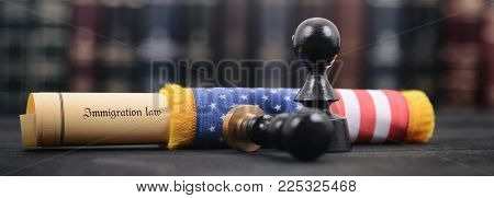 Immigration Law wrapped in a USA flag, Imigration Regulation concept, Notary seals on the wooden background.