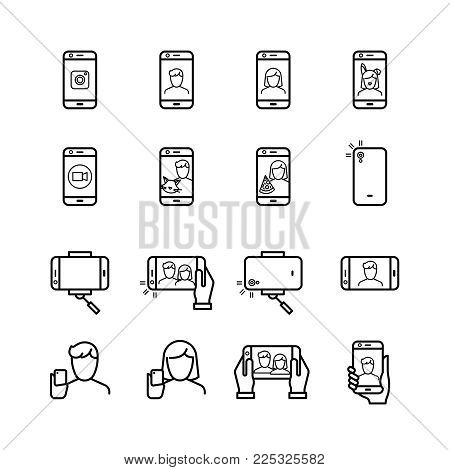 Selfie photo, people take photo with smartphone and monopod line vector icons. Self photo and selfie with smartphone illustration
