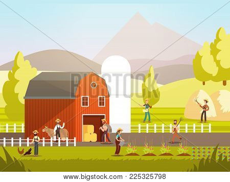 Cartoon farm with farmers, farm animals and equipment vector illustration. Farm agriculture and farmer, rural farming and landscape