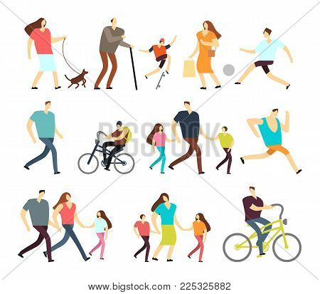 Men and women walking outdoor. Vector cartoon active characters in various lifestyles in street. Woman and man walk with family illustration