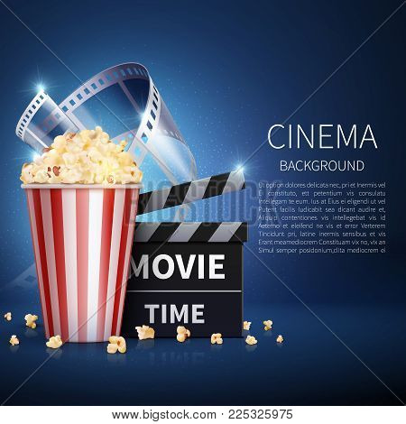 Cinema 3d Movie Vector Background With Popcorn And Vintage Film. Retro Cinema Poster. Banner Cinema