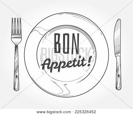 Dinner plate with knife and fork. Doodle sketch tableware and dish. Restaurant vector poster. Dinner plate with fork and knife illustration