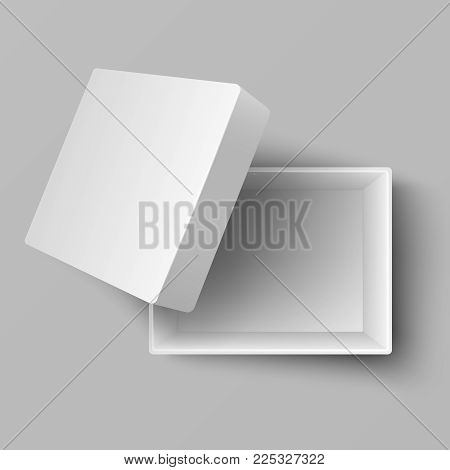 Blank white open cardboard gift box top view 3d vector illustration. Box package cardboard for gift top view