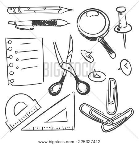 Stationery sketch set - scissors pencil pen button isolated on white background. Vector pencil and pen, sketch drawing illustration