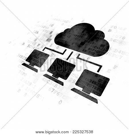 Cloud networking concept: Pixelated black Cloud Network icon on Digital background