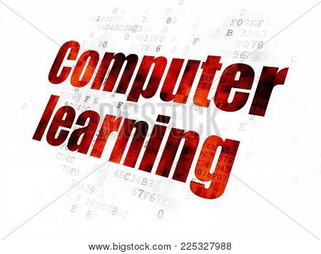 Learning concept: Pixelated red text Computer Learning on Digital background