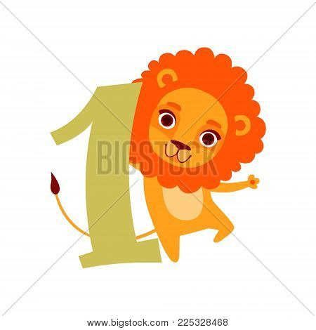 Funny cute lion animal and number one, birthday anniversary, learn to count concept cartoon vector Illustration on a white background