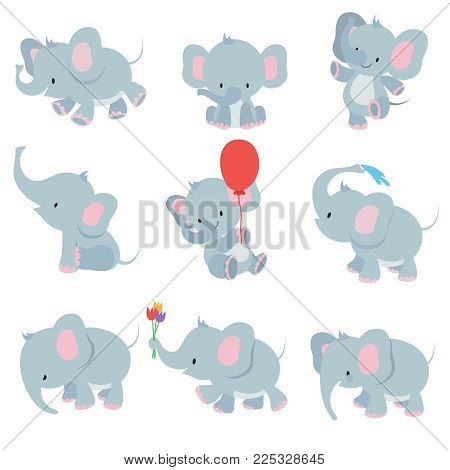 Cute cartoon baby elephants. Animals african safari animals vector set. Elephant african cartoon, happy friendly animal illustration