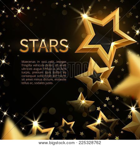 Shiny sparkling gold stars on black abstract holiday magic vector background. Banner with gold shiny magic bright star illustration