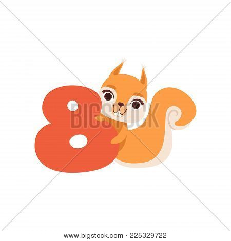 Funny cute squirrel animal and number eight, birthday anniversary, learn to count concept cartoon vector Illustration on a white background