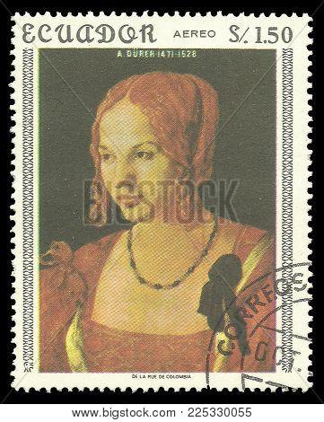 Ecuador - circa 1967: Stamp printed by Ecuador, Color edition on Art, shows Painting Venetian Woman by Durer, circa 1967