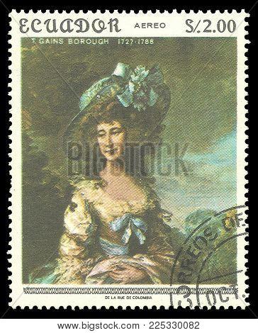 Ecuador - circa 1967: Stamp printed by Ecuador, Color edition on Art, shows Painting Lady Sheffield by Gainsborough, circa 1967