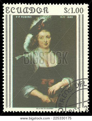 Ecuador - circa 1967: Stamp printed by Ecuador, Color edition on Art, shows Painting Helene Fourment by Rubens, circa 1967