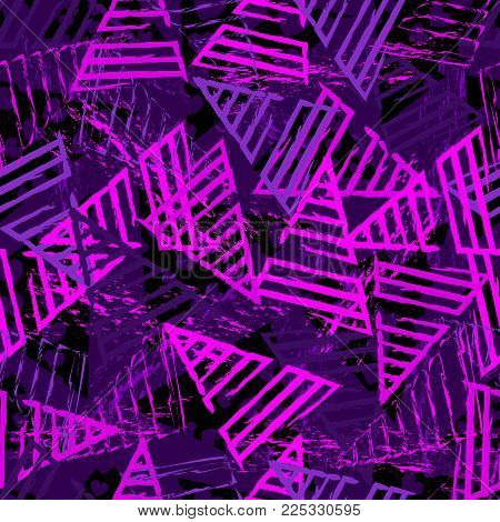 Abstract Seamless Sport Pattern For Girls,boys.creative Sport Vector Background With Lines, Triangle