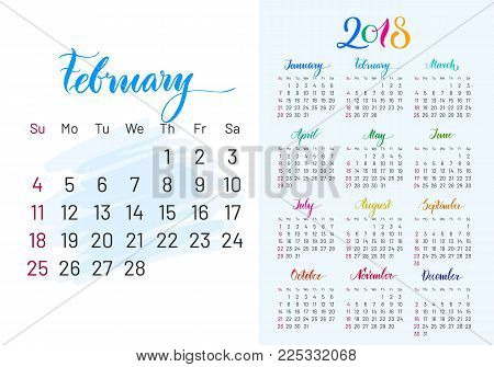 Colorful planner, 2018, february separately, white-blue background, lettering, artboard. Stylish annual calendar for modern people. Vector illustration of chart