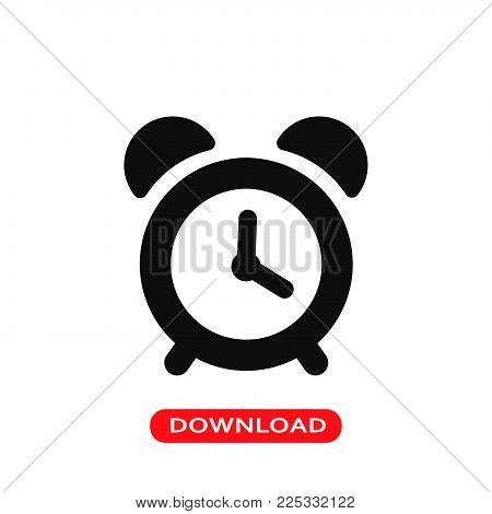 Alarm clock icon vector in modern flat style for web, graphic and mobile design. Alarm clock icon vector isolated on white background. Alarm clock icon vector illustration, editable stroke and EPS10. Alarm clock icon vector simple symbol for app, logo, UI