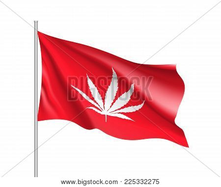 White cannabis leaf on red background, realistic waving flag. Vector illustration of a symbol of medical marijuana