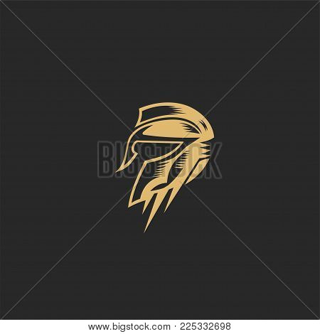 Golden symbol Spartan warrior on a black background vector illustration design.