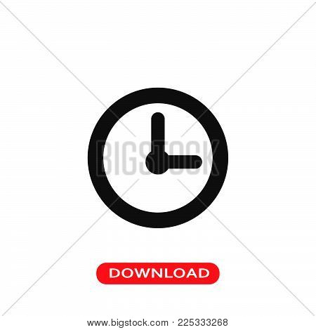 Clock icon vector in modern flat style for web, graphic and mobile design. Clock icon vector isolated on white background. Clock icon vector illustration, editable stroke and EPS10. Clock icon vector simple symbol for app, logo, UI.