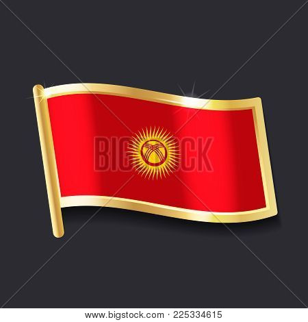 flag of Kyrgyzstan in the form of badge, flat image