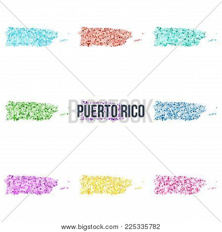 Vector dotted colourful map of Puerto Rico. Set of different color solutions